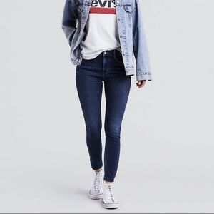 Levi's 711 Skinny Jeans Mid Rise Dark Indigo Wash